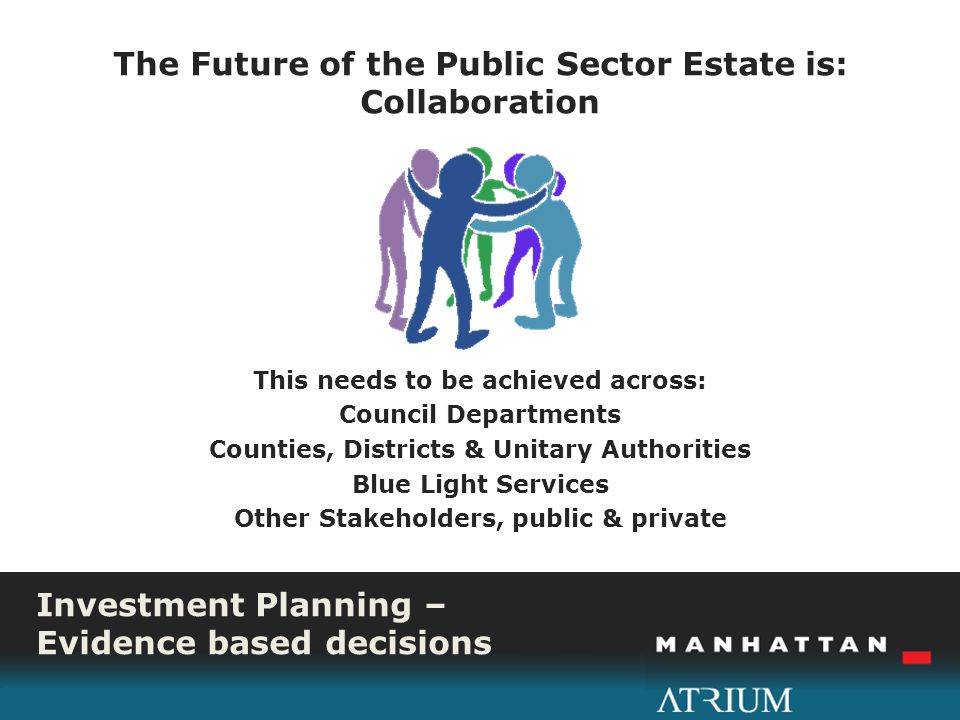 Investment Planning – Evidence based decisions The Future of the Public Sector Estate is: Collaboration This needs to be achieved across: Council Departments Counties, Districts & Unitary Authorities Blue Light Services Other Stakeholders, public & private