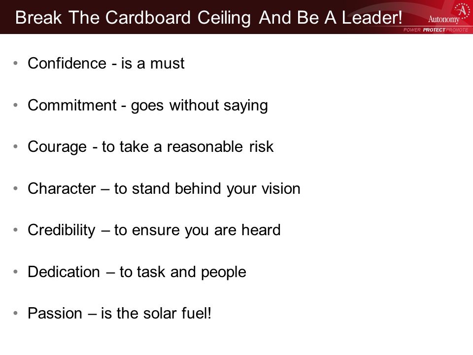 POWER PROTECT PROMOTE Power Protect Promote Break The Cardboard Ceiling And Be A Leader.