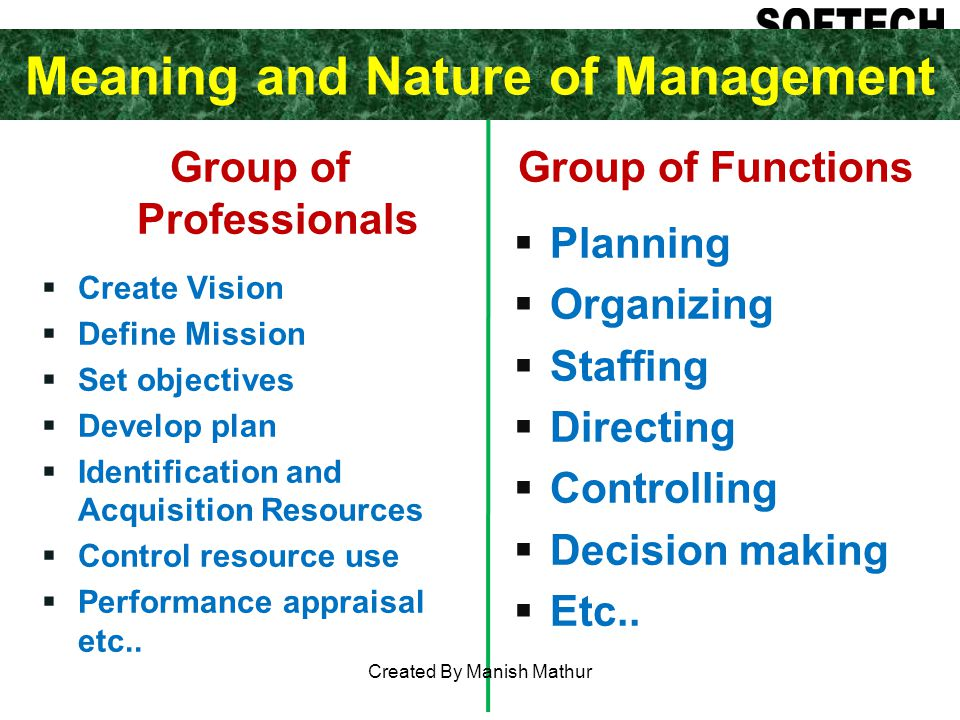 Meaning and Nature of Management Group of Professionals Create Vision Define Mission Set objectives Develop plan Identification and Acquisition Resources Control resource use Performance appraisal etc..