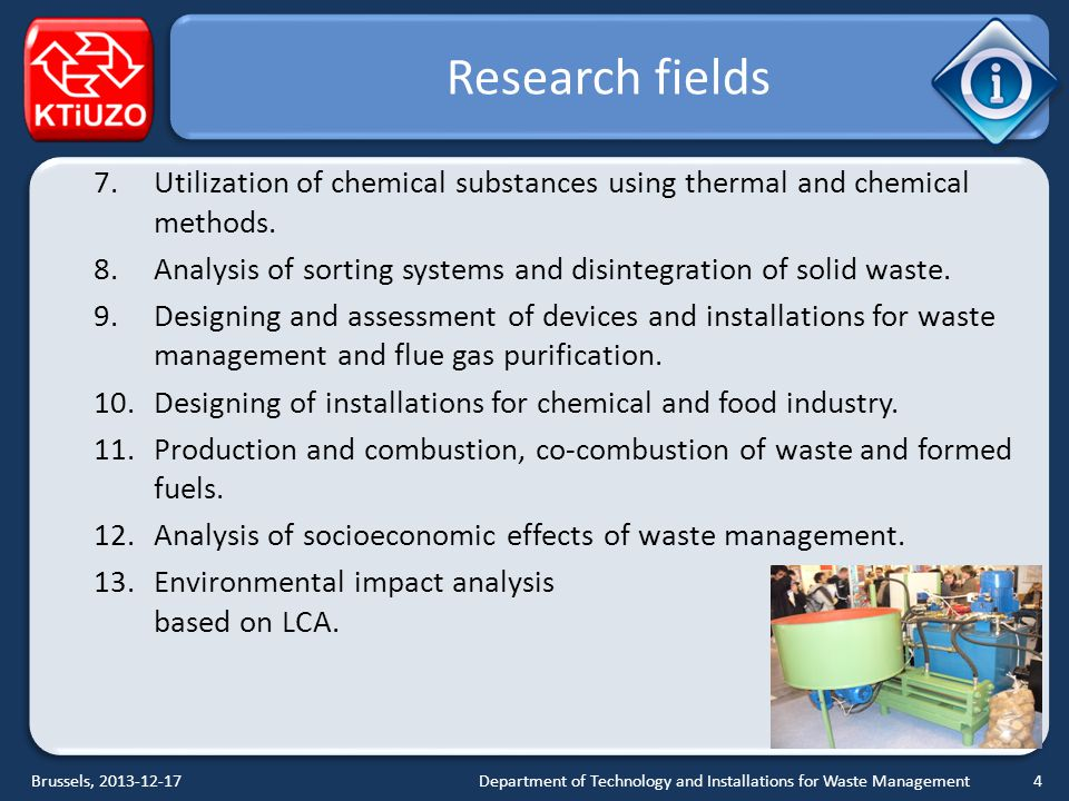 Research fields 7.Utilization of chemical substances using thermal and chemical methods.