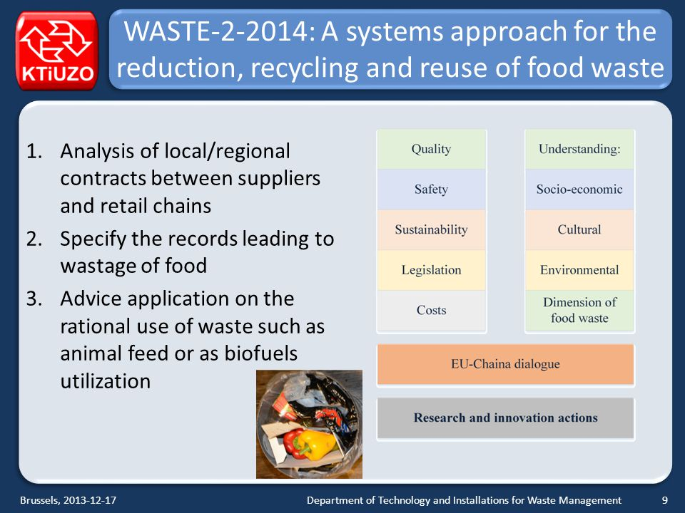 WASTE-2-2014: A systems approach for the reduction, recycling and reuse of food waste 1.Analysis of local/regional contracts between suppliers and retail chains 2.Specify the records leading to wastage of food 3.Advice application on the rational use of waste such as animal feed or as biofuels utilization Department of Technology and Installations for Waste ManagementBrussels, 2013-12-179