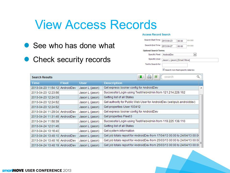 View Access Records See who has done what Check security records