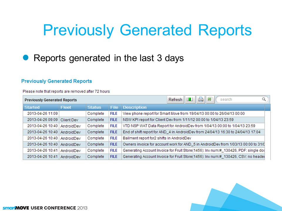 Reports generated in the last 3 days Previously Generated Reports