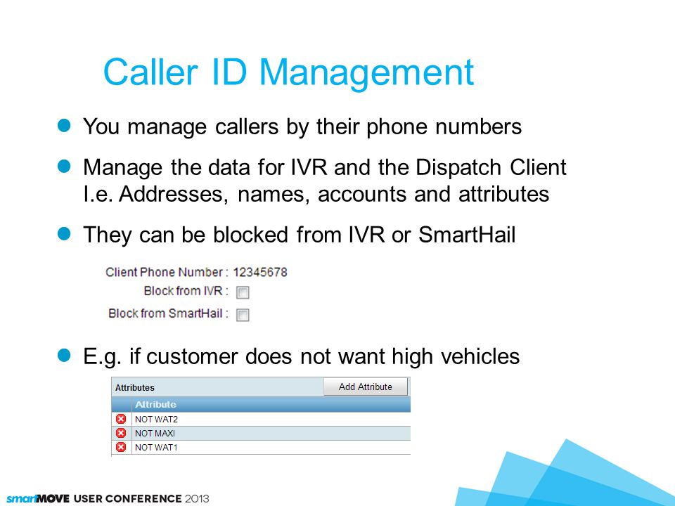You manage callers by their phone numbers Manage the data for IVR and the Dispatch Client I.e.