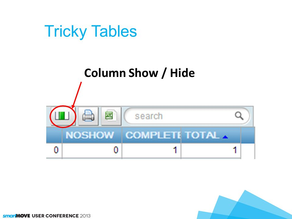 Tricky Tables Column Show / Hide