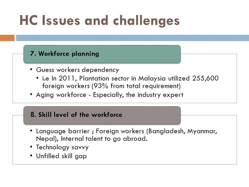 HC Issues and challenges Guess workers dependency i.e In 2011, Plantation sector in Malaysia utilized 255,600 foreign workers (93% from total requirement) Aging workforce - Especially, the industry expert 7.