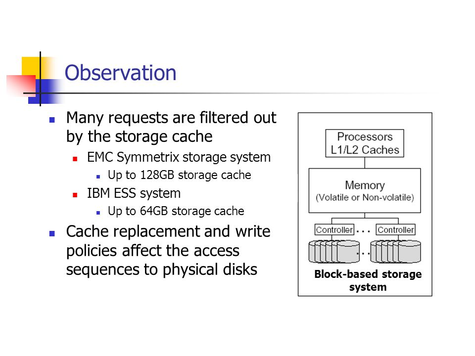 Observation Many requests are filtered out by the storage cache EMC Symmetrix storage system Up to 128GB storage cache IBM ESS system Up to 64GB storage cache Cache replacement and write policies affect the access sequences to physical disks Block-based storage system