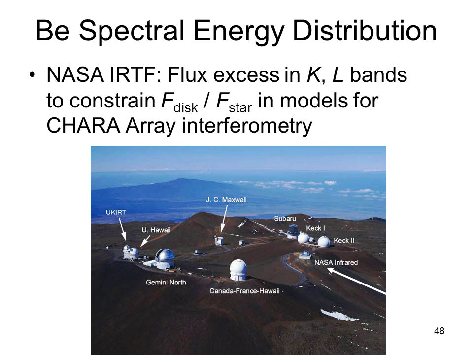 48 Be Spectral Energy Distribution NASA IRTF: Flux excess in K, L bands to constrain F disk / F star in models for CHARA Array interferometry
