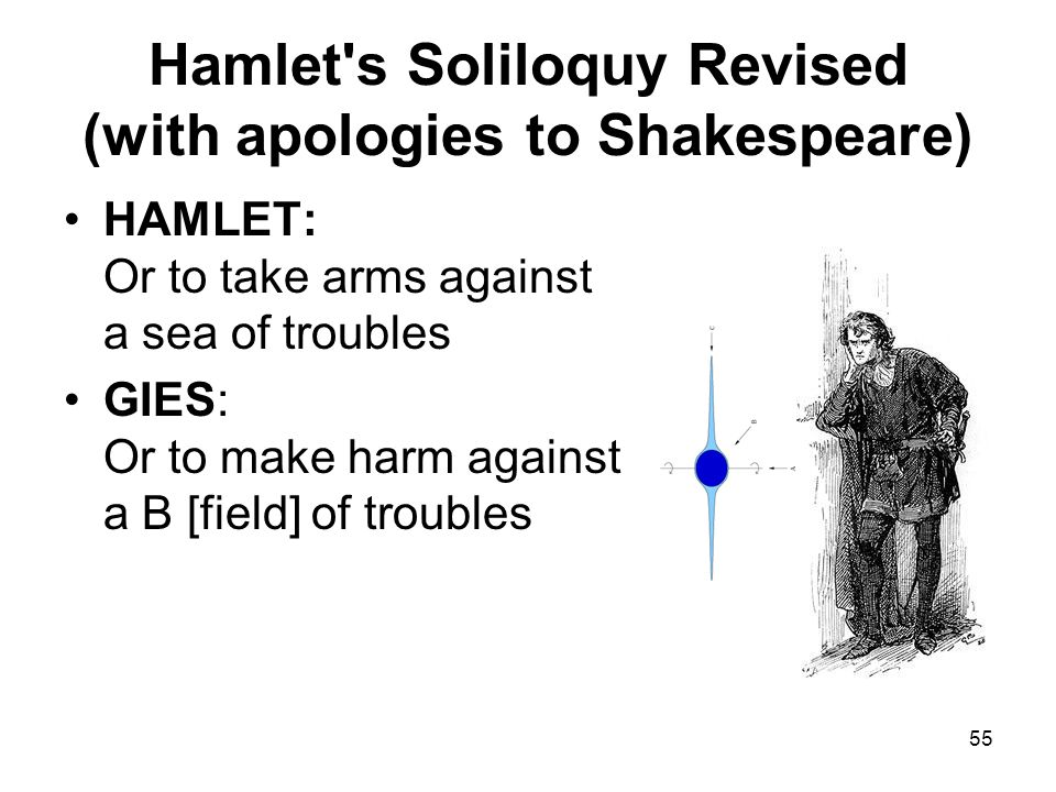 55 Hamlet s Soliloquy Revised (with apologies to Shakespeare) HAMLET: Or to take arms against a sea of troubles GIES: Or to make harm against a B [field] of troubles