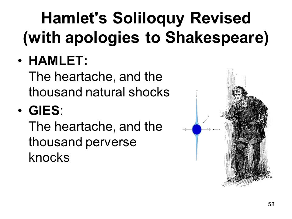58 Hamlet s Soliloquy Revised (with apologies to Shakespeare) HAMLET: The heartache, and the thousand natural shocks GIES: The heartache, and the thousand perverse knocks