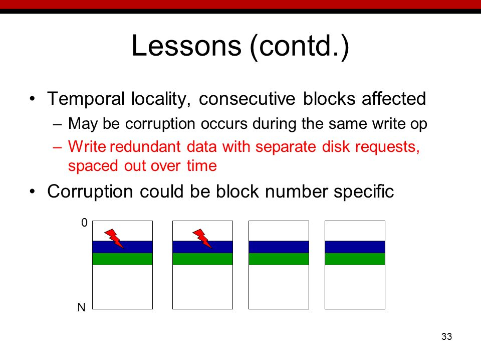33 Lessons (contd.) Temporal locality, consecutive blocks affected –May be corruption occurs during the same write op –Write redundant data with separate disk requests, spaced out over time Corruption could be block number specific 0 N