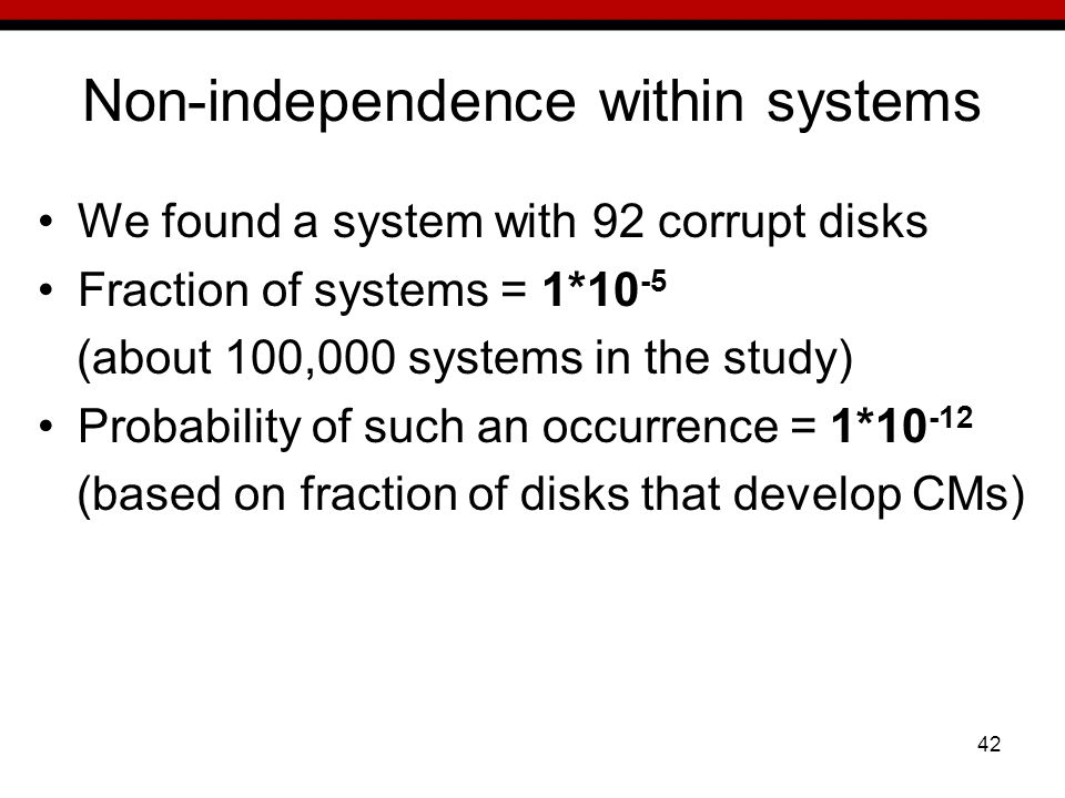 42 Non-independence within systems We found a system with 92 corrupt disks Fraction of systems = 1*10 -5 (about 100,000 systems in the study) Probability of such an occurrence = 1*10 -12 (based on fraction of disks that develop CMs)
