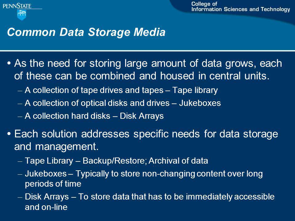Common Data Storage Media As the need for storing large amount of data grows, each of these can be combined and housed in central units.