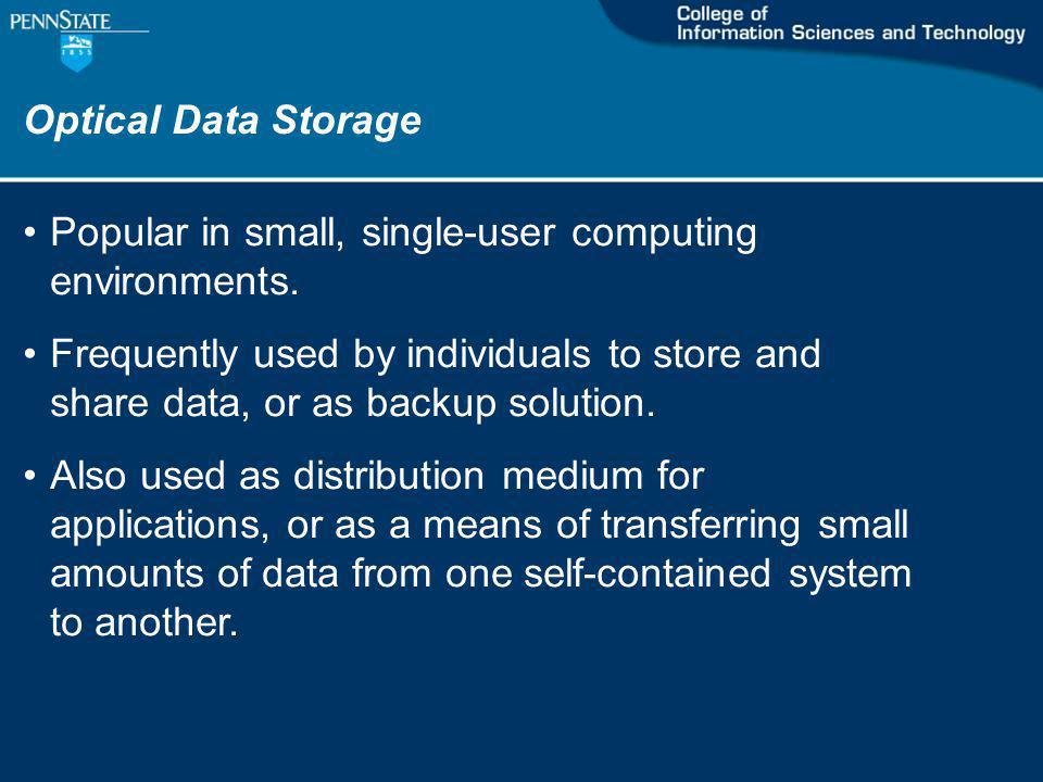 Optical Data Storage Popular in small, single-user computing environments.
