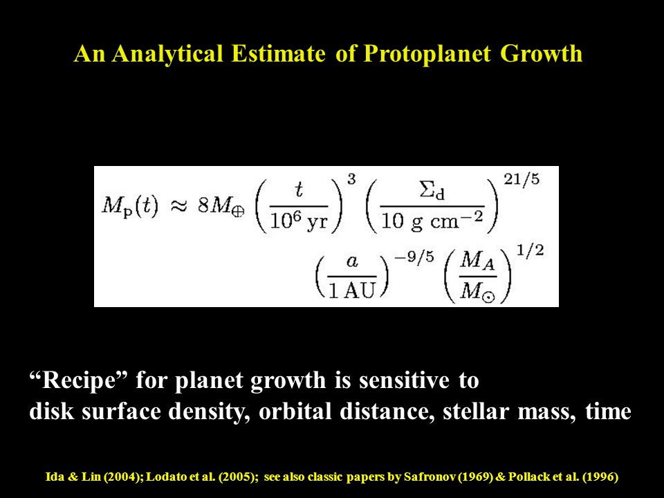 Mass Time Disk Surface Density Orbital Radius Primary Mass An Analytical Estimate of Protoplanet Growth Lodato et al.