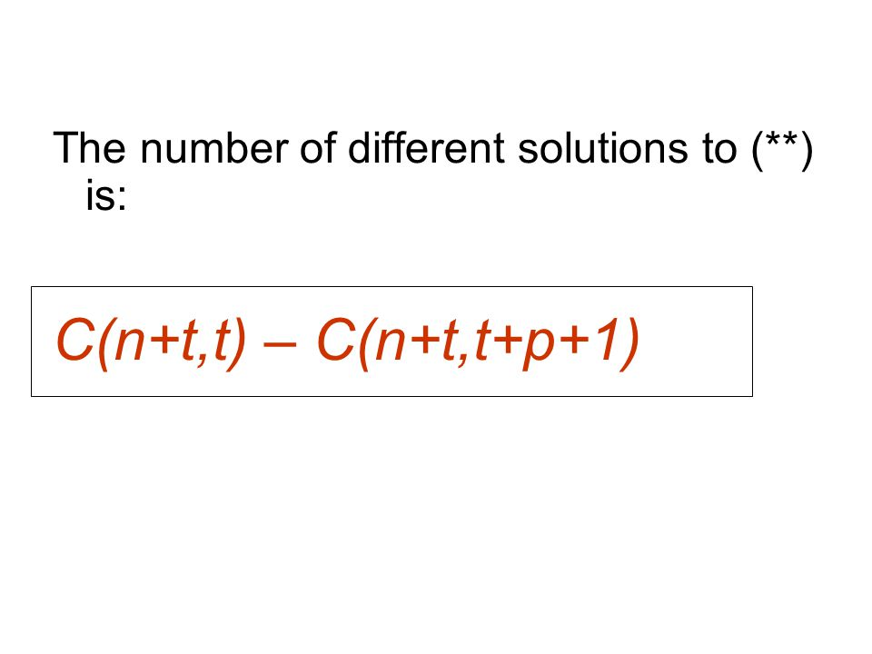 The number of different solutions to (**) is: C(n+t,t) – C(n+t,t+p+1)