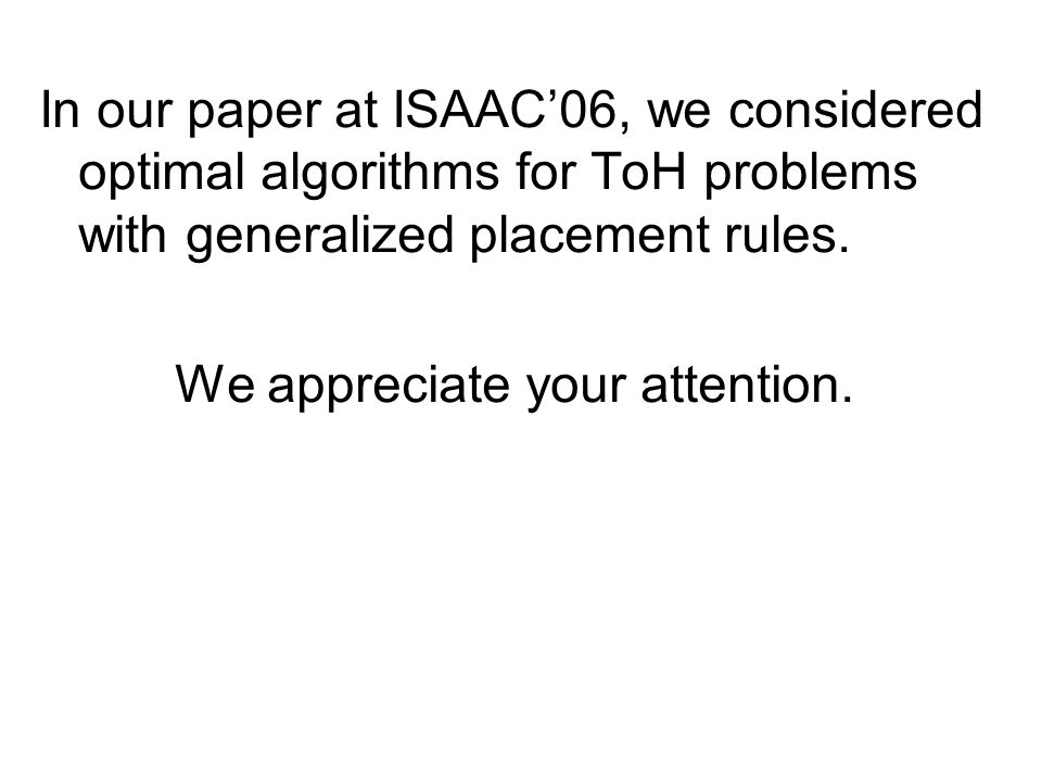 In our paper at ISAAC06, we considered optimal algorithms for ToH problems with generalized placement rules.