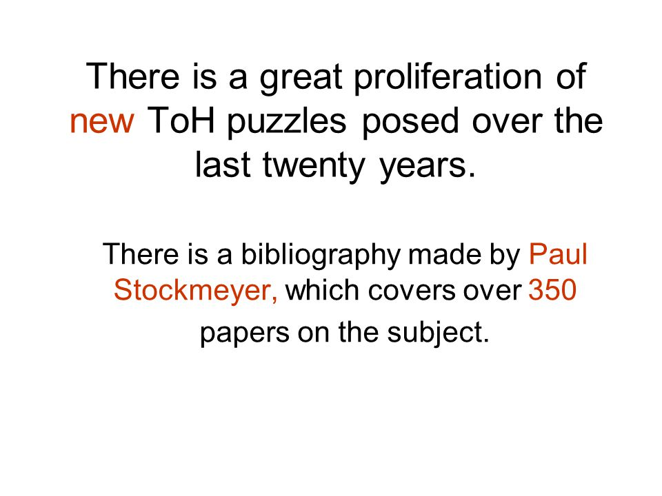 There is a great proliferation of new ToH puzzles posed over the last twenty years.