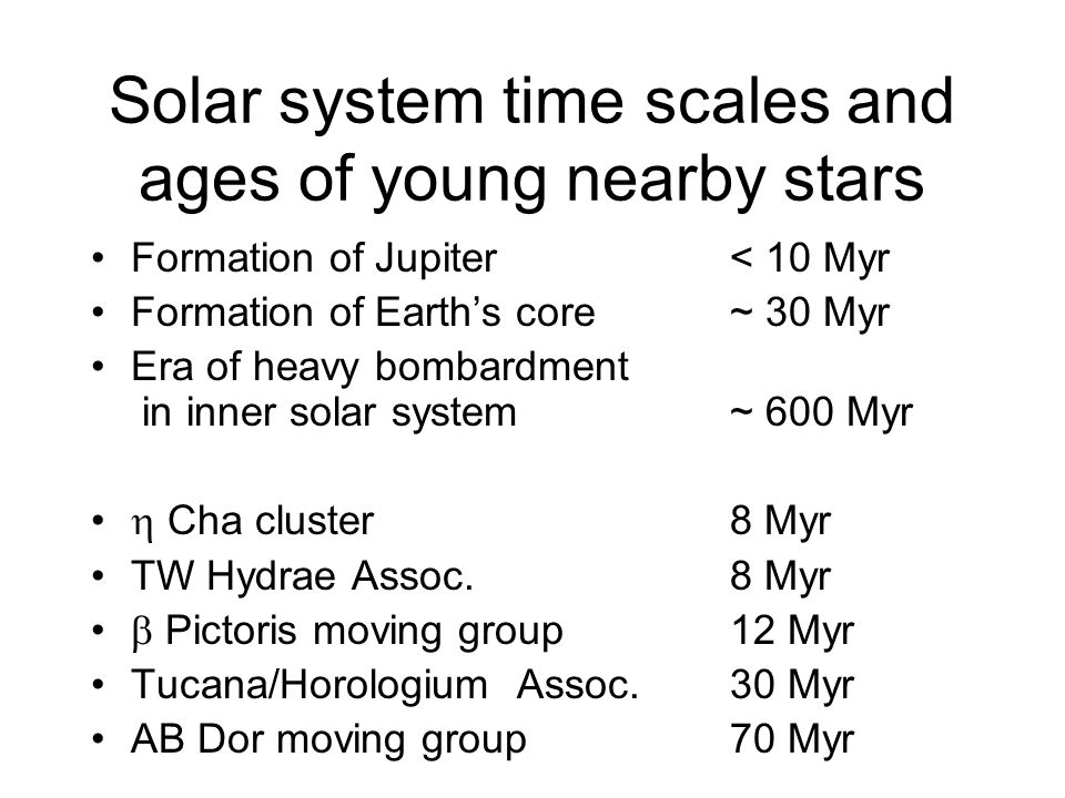 Solar system time scales and ages of young nearby stars Formation of Jupiter< 10 Myr Formation of Earths core~ 30 Myr Era of heavy bombardment in inner solar system ~ 600 Myr Cha cluster8 Myr TW Hydrae Assoc.8 Myr Pictoris moving group12 Myr Tucana/HorologiumAssoc.30 Myr AB Dor moving group70 Myr