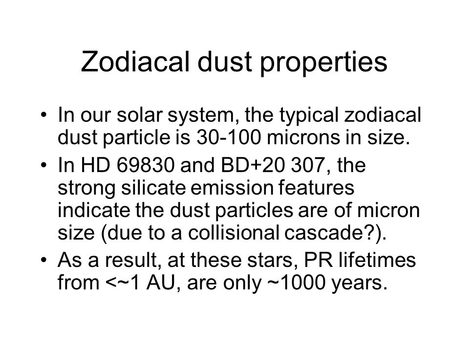 Zodiacal dust properties In our solar system, the typical zodiacal dust particle is 30-100 microns in size.
