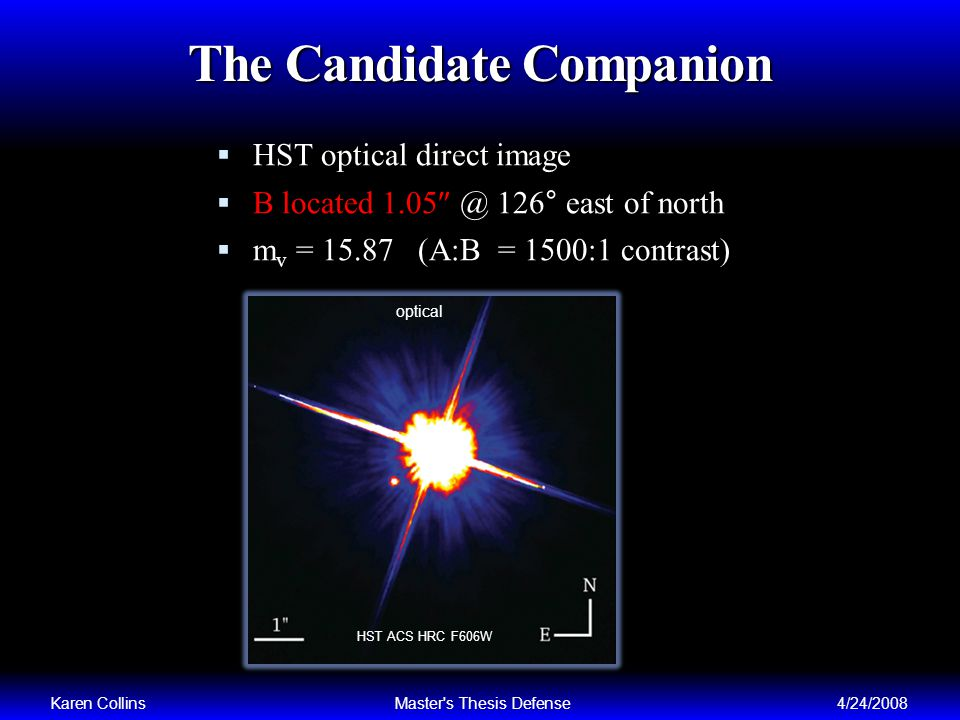 The Candidate Companion HST optical direct image B located 1.05 @ 126° east of north m v = 15.87 (A:B = 1500:1 contrast) Karen CollinsMaster s Thesis Defense4/24/2008 optical HST ACS HRC F606W