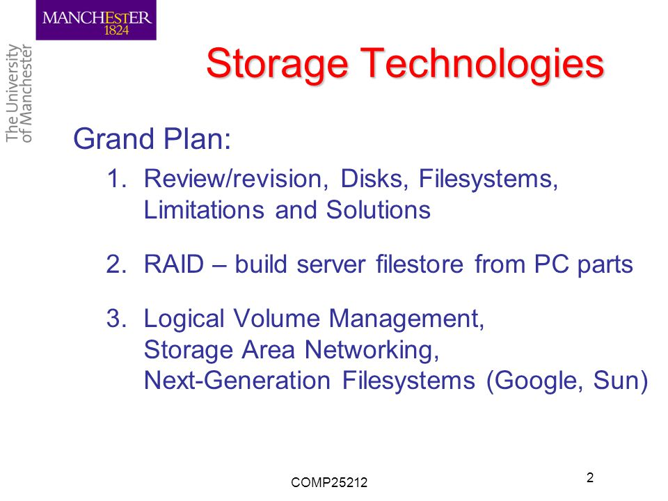 Storage Technologies Grand Plan: 1.Review/revision, Disks, Filesystems, Limitations and Solutions 2.RAID – build server filestore from PC parts 3.Logical Volume Management, Storage Area Networking, Next-Generation Filesystems (Google, Sun) COMP25212 2