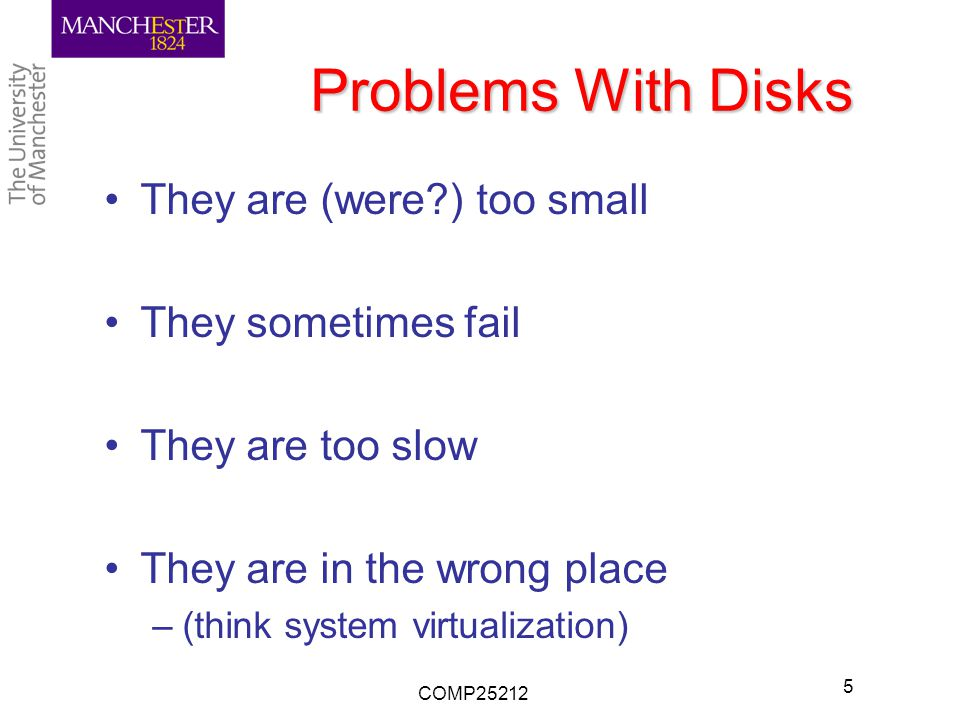 Problems With Disks They are (were ) too small They sometimes fail They are too slow They are in the wrong place –(think system virtualization) COMP25212 5