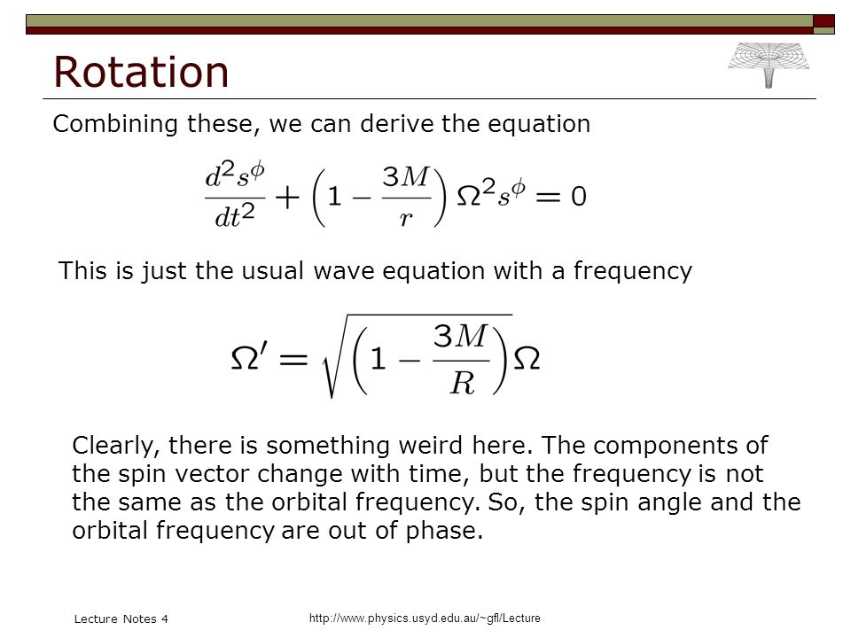 http://www.physics.usyd.edu.au/~gfl/Lecture Lecture Notes 4 Rotation Combining these, we can derive the equation This is just the usual wave equation with a frequency Clearly, there is something weird here.