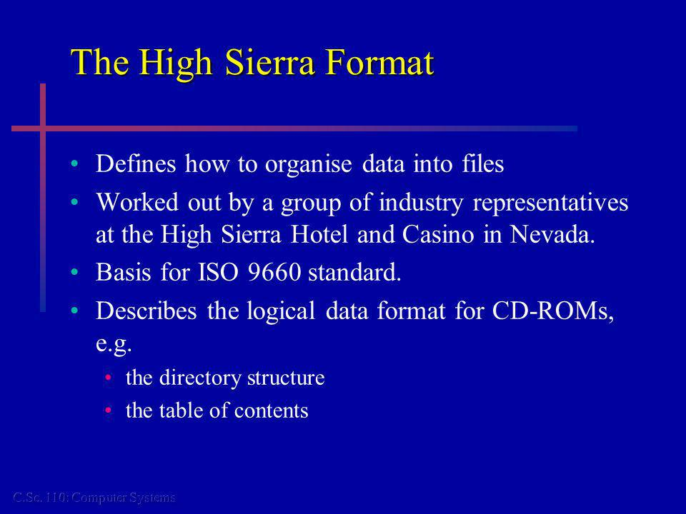 The High Sierra Format Defines how to organise data into files Worked out by a group of industry representatives at the High Sierra Hotel and Casino in Nevada.
