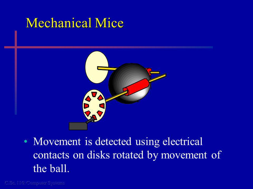 Mechanical Mice Movement is detected using electrical contacts on disks rotated by movement of the ball.