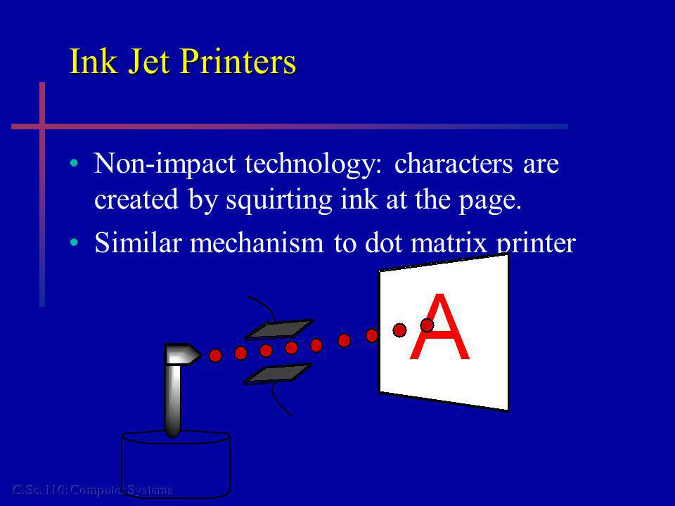 Ink Jet Printers Non-impact technology: characters are created by squirting ink at the page.