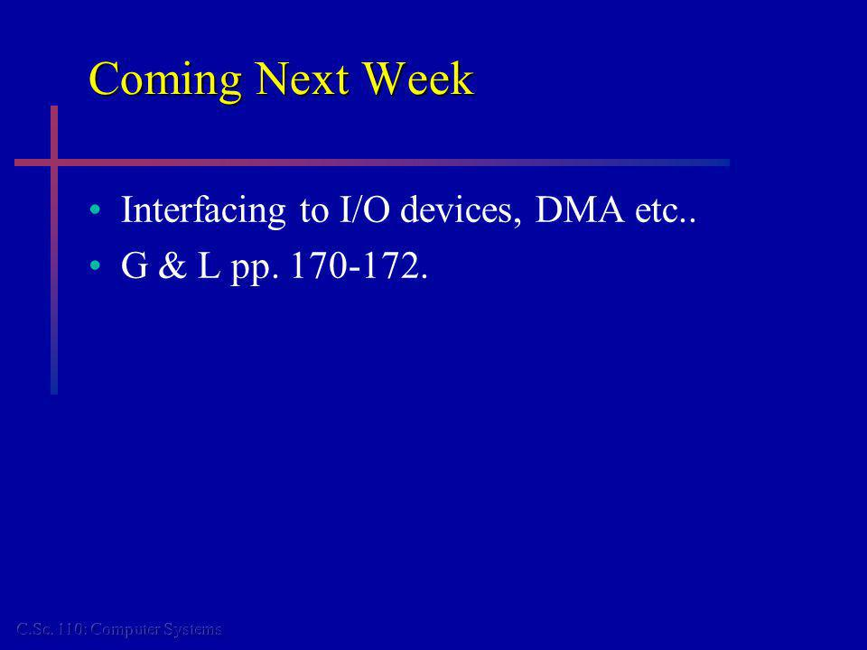 Coming Next Week Interfacing to I/O devices, DMA etc.. G & L pp. 170-172.