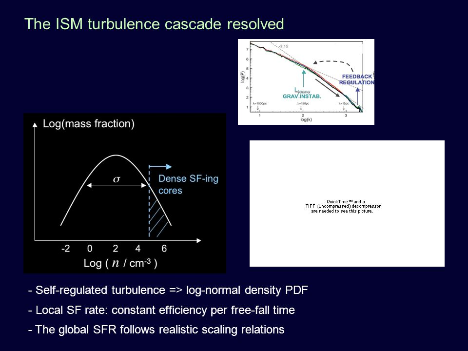 The ISM turbulence cascade resolved - Self-regulated turbulence => log-normal density PDF - Local SF rate: constant efficiency per free-fall time - The global SFR follows realistic scaling relations