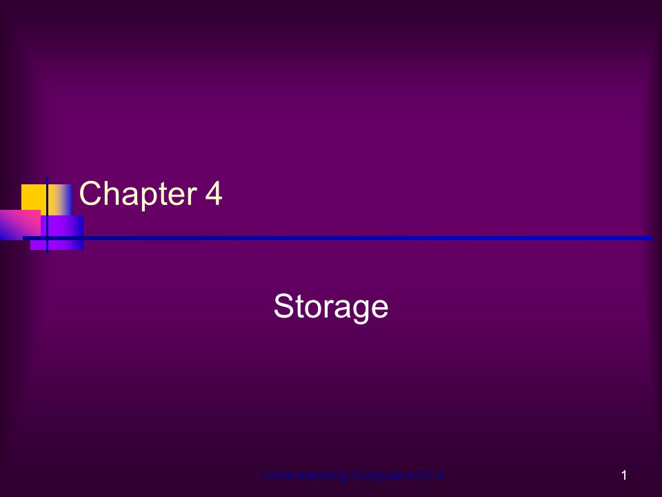 Understanding Computers Ch.41 Chapter 4 Storage