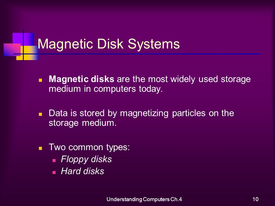Understanding Computers Ch.410 Magnetic Disk Systems Magnetic disks are the most widely used storage medium in computers today.
