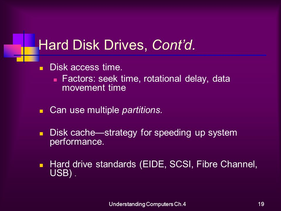 Understanding Computers Ch.419 Hard Disk Drives, Contd.