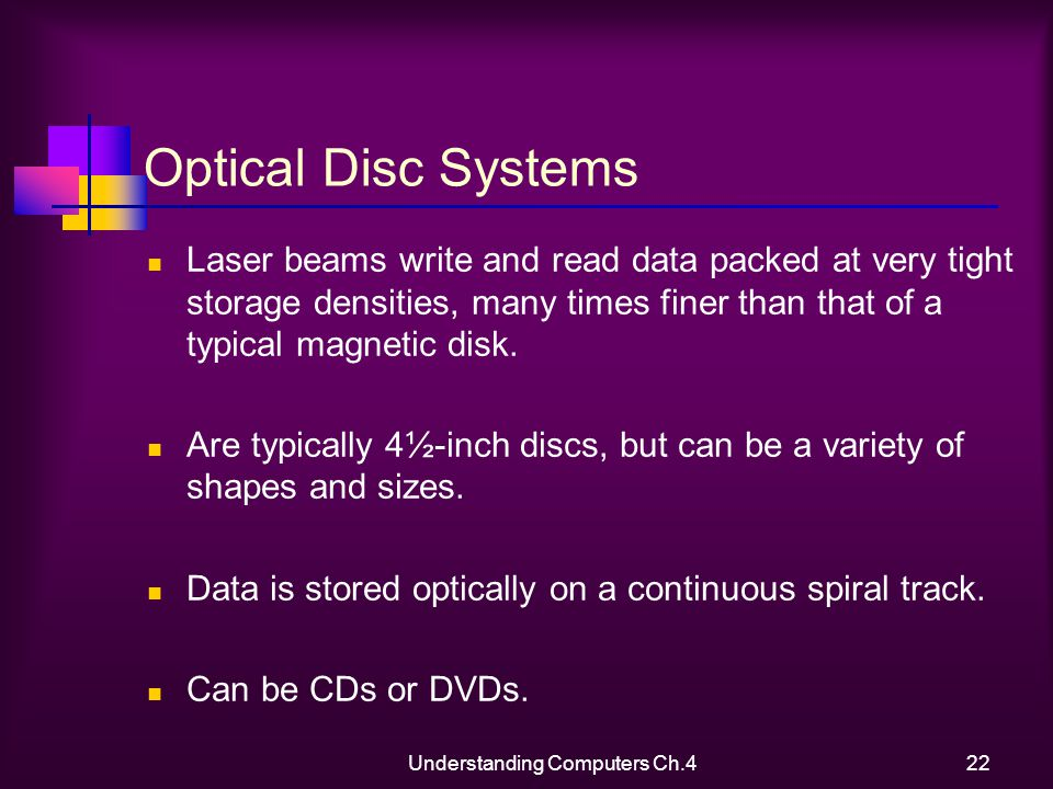Understanding Computers Ch.422 Optical Disc Systems Laser beams write and read data packed at very tight storage densities, many times finer than that of a typical magnetic disk.