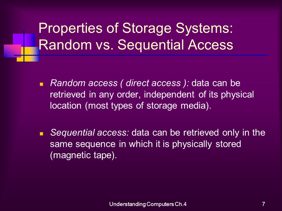 Understanding Computers Ch.47 Properties of Storage Systems: Random vs.