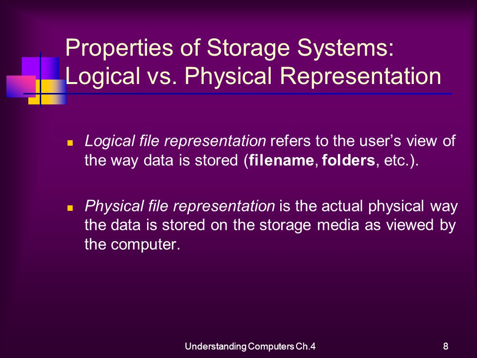 Understanding Computers Ch.48 Properties of Storage Systems: Logical vs.