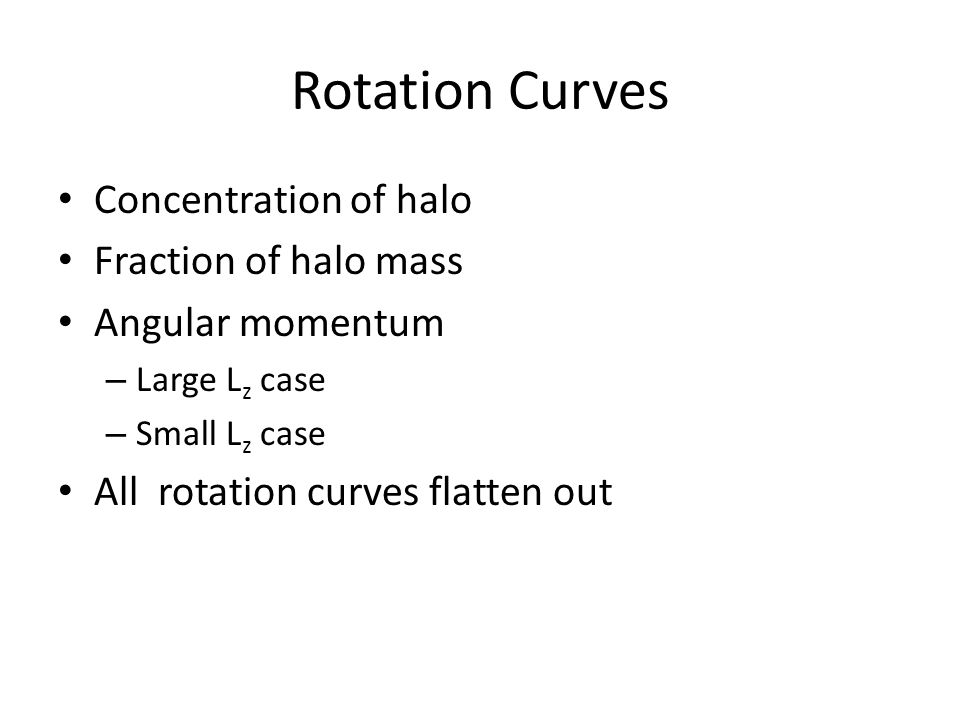 Rotation Curves Concentration of halo Fraction of halo mass Angular momentum – Large L z case – Small L z case All rotation curves flatten out