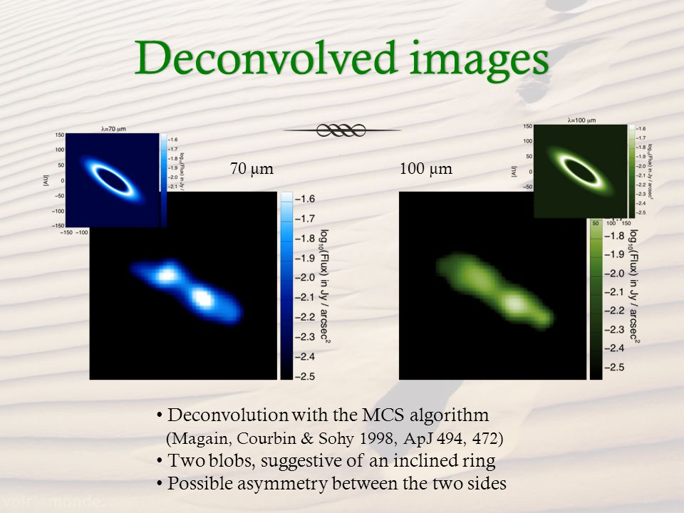Deconvolved imagesDeconvolved images Deconvolution with the MCS algorithm (Magain, Courbin & Sohy 1998, ApJ 494, 472) Two blobs, suggestive of an inclined ring Possible asymmetry between the two sides 70 µm100 µm