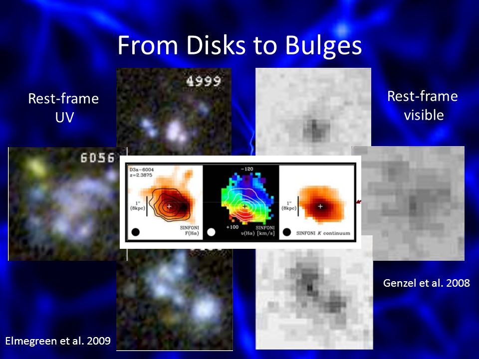 From Disks to Bulges Elmegreen et al. 2009 Genzel et al. 2008 Rest-frame UV Rest-frame visible
