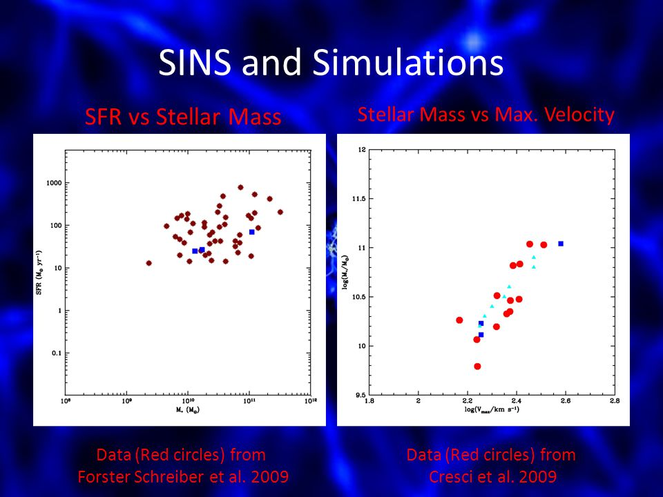 SINS and Simulations Data (Red circles) from Forster Schreiber et al.