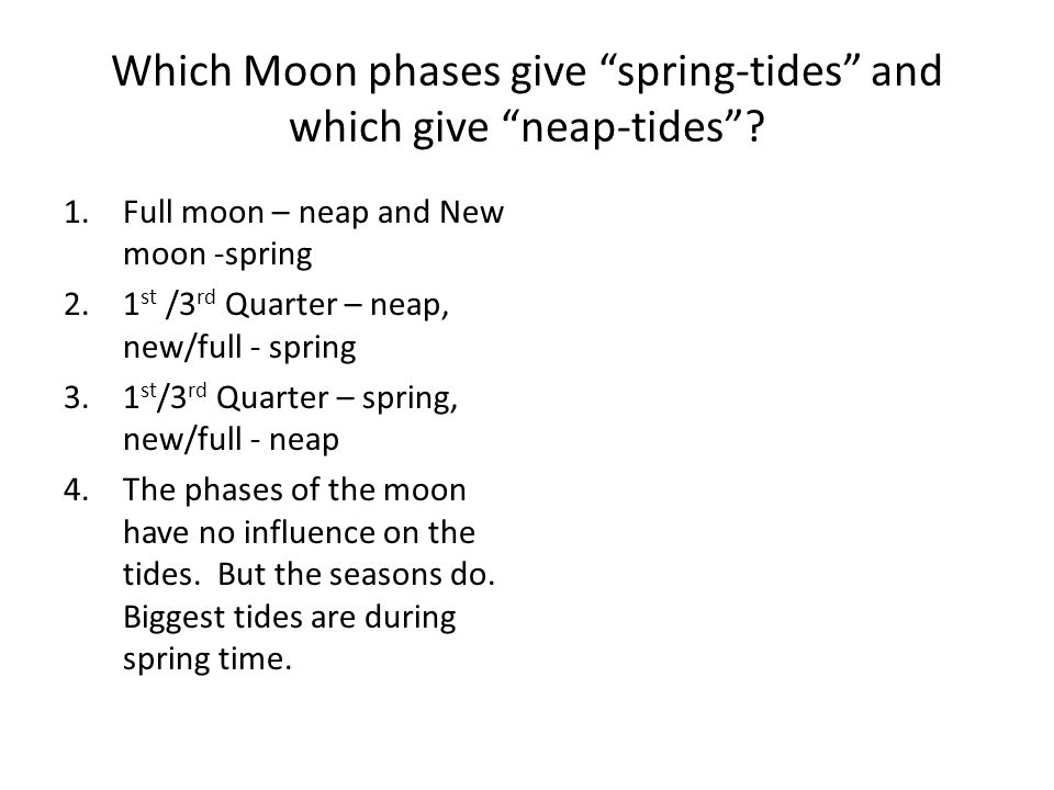 Which Moon phases give spring-tides and which give neap-tides.