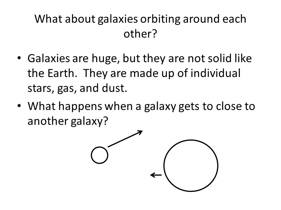 What about galaxies orbiting around each other.