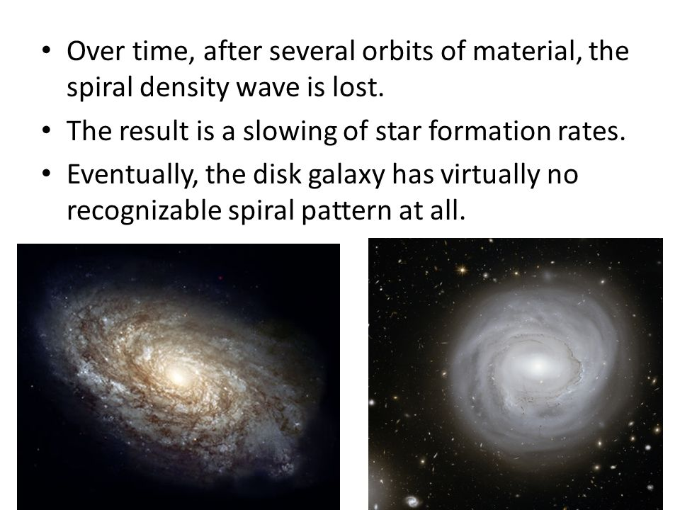 Over time, after several orbits of material, the spiral density wave is lost.