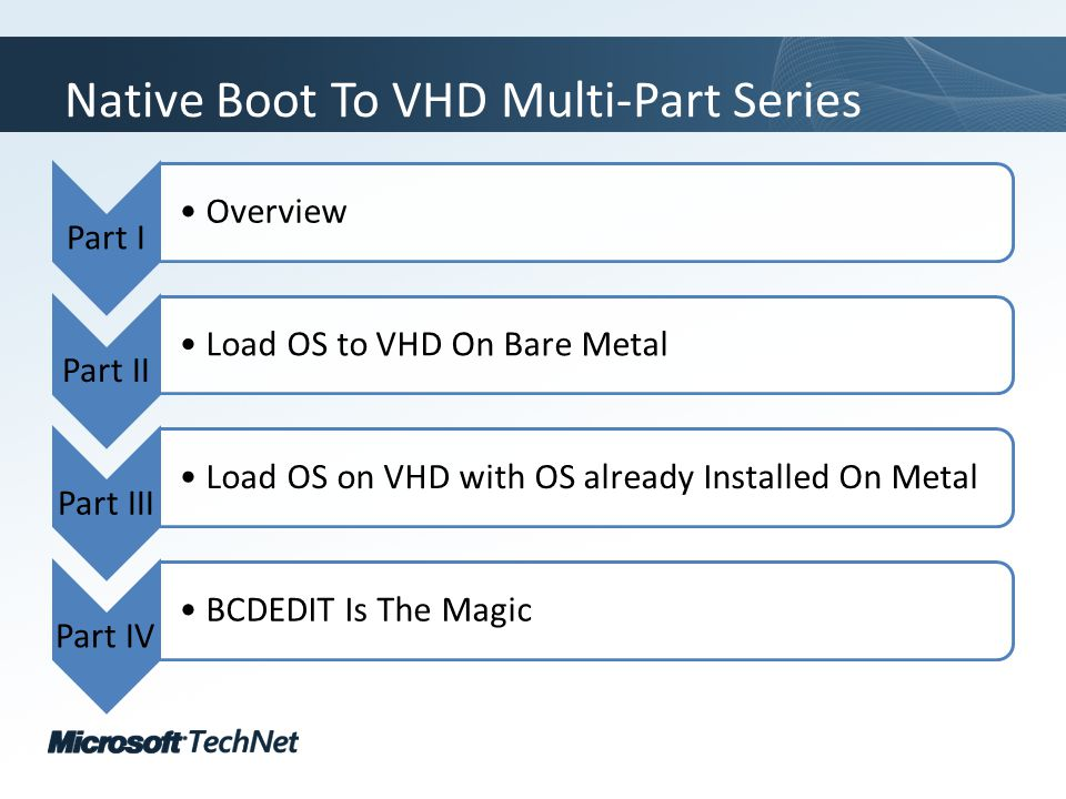Click to edit Master title style TechNet goes virtual Native Boot To VHD Multi-Part Series Part I Overview Part II Load OS to VHD On Bare Metal Part III Load OS on VHD with OS already Installed On Metal Part IV BCDEDIT Is The Magic