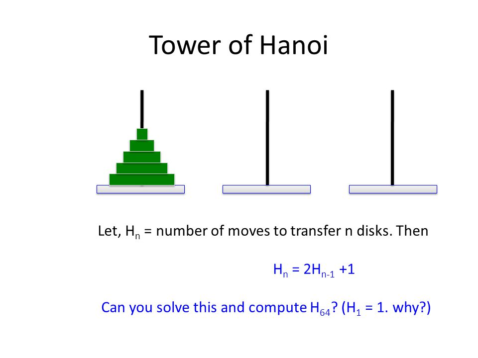 Tower of Hanoi Let, H n = number of moves to transfer n disks.
