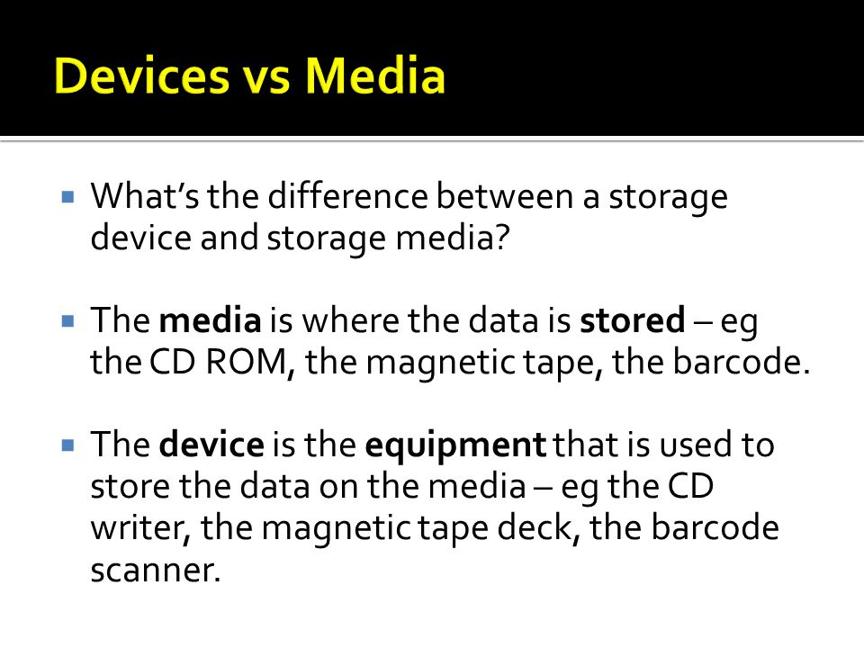 Whats the difference between a storage device and storage media.