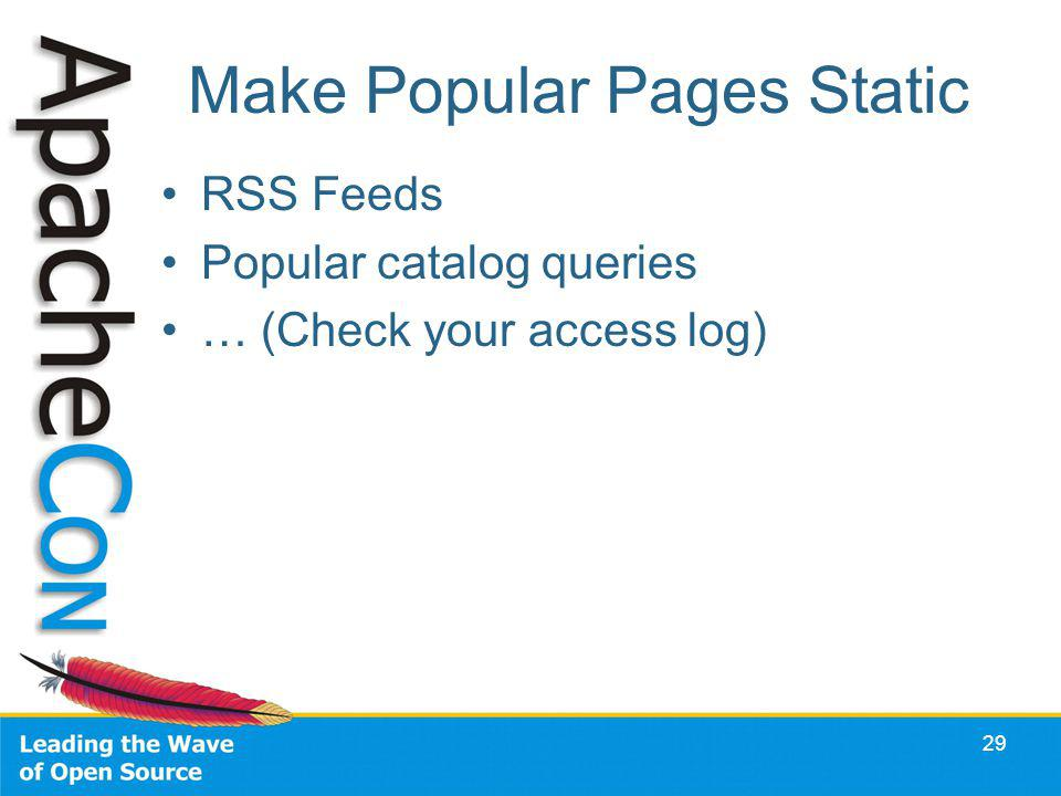 Make Popular Pages Static RSS Feeds Popular catalog queries … (Check your access log) 29